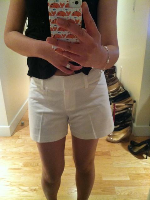 AT Factory白色标志短裤,sz 0P