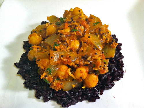 Tomato-Chickpea Curry on Black Forbidden Rice (Vegan)