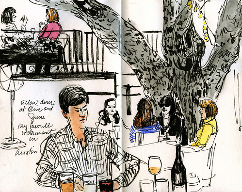 Austin sketches: diners at Olive & June