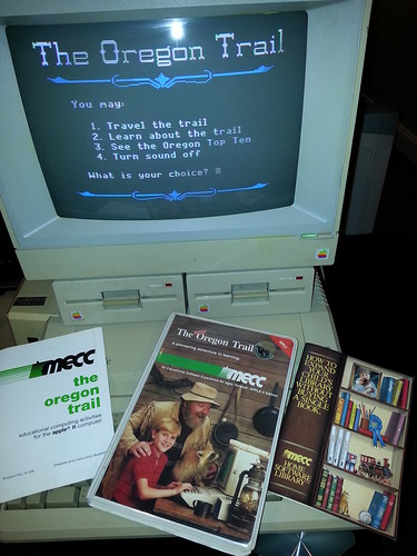 The version of The (New) Oregon Trail I played, from 1985. 64k required.