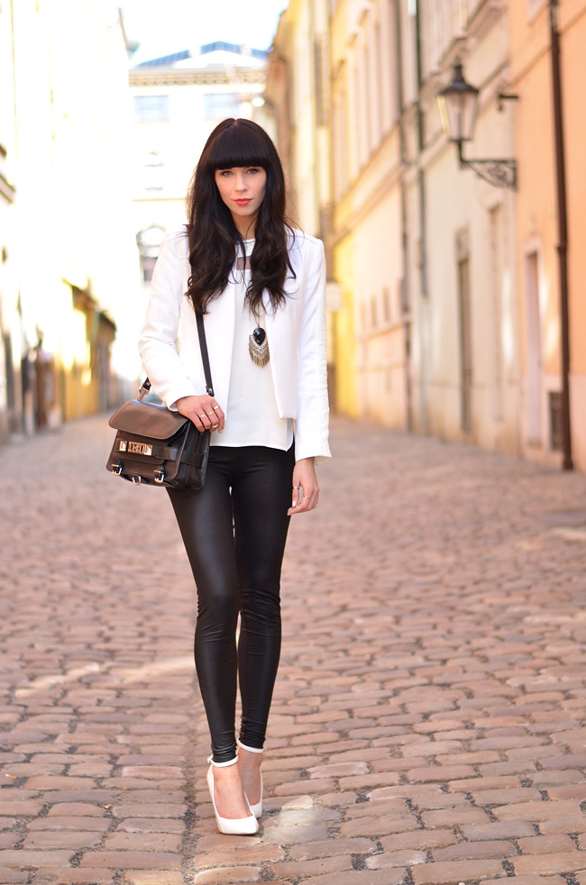 White Outfit Mango Kurt Geiger Zara in Prague 4