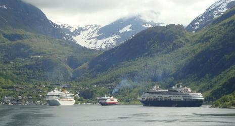 Cruise ships in Geiranger, Norway
