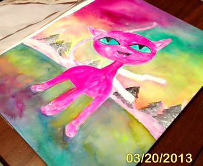 Kitty cat art painting wip by Andrea Pontillo
