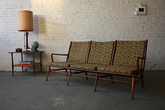 Dramatic Danish Mid Century Modern Sofa with Highly Sculpted Frame (Denmark, 1950's)