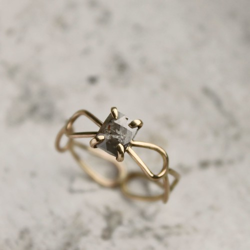 Natural Gray Rose Cut Diamond and 14k gold