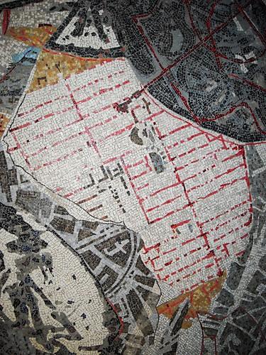 """Mosaic by William Kentridge (Johannesburg 1955) - Ancient Neapolis Plan - La stazione """"Toledo"""" della metropolitana di Napoli, inaugurata il 17.9.12 / """"Toledo"""" Underground Station in Naples, open 17.9.12"""