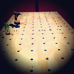 Putting in 20,000 screws for new walls at Vertical Adventures. #rockclimbing #pullingplastic