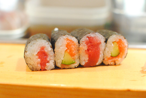 Tuna and Cucumber with Cod Roe Maki Rolls