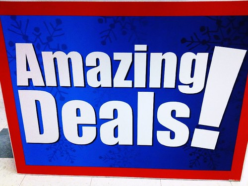 Amazing Deals Sign Holiday Blue Red Snowflakes Enhanced