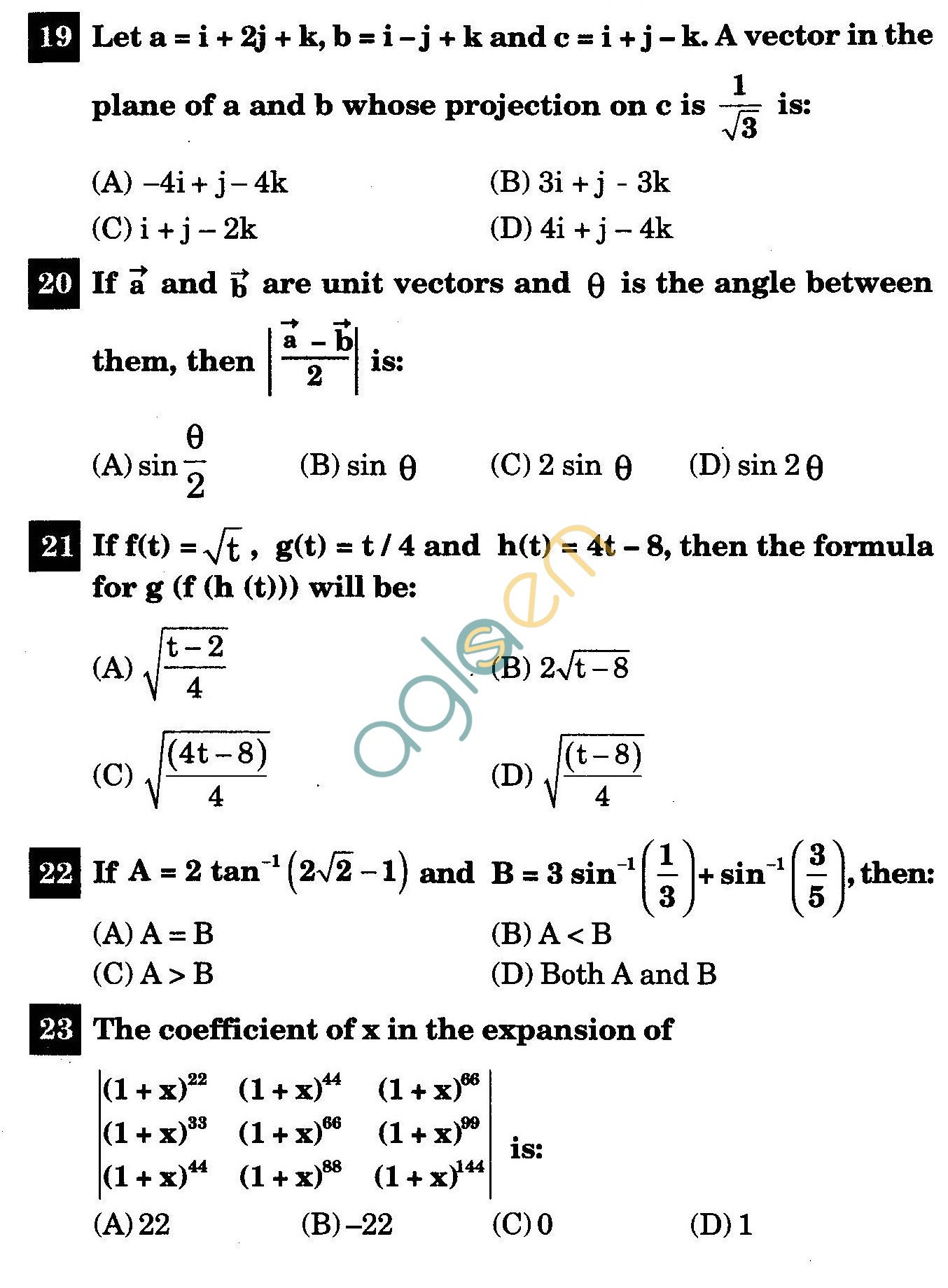 NSTSE 2011 Class XII PCM Question Paper with Answers - Mathematics