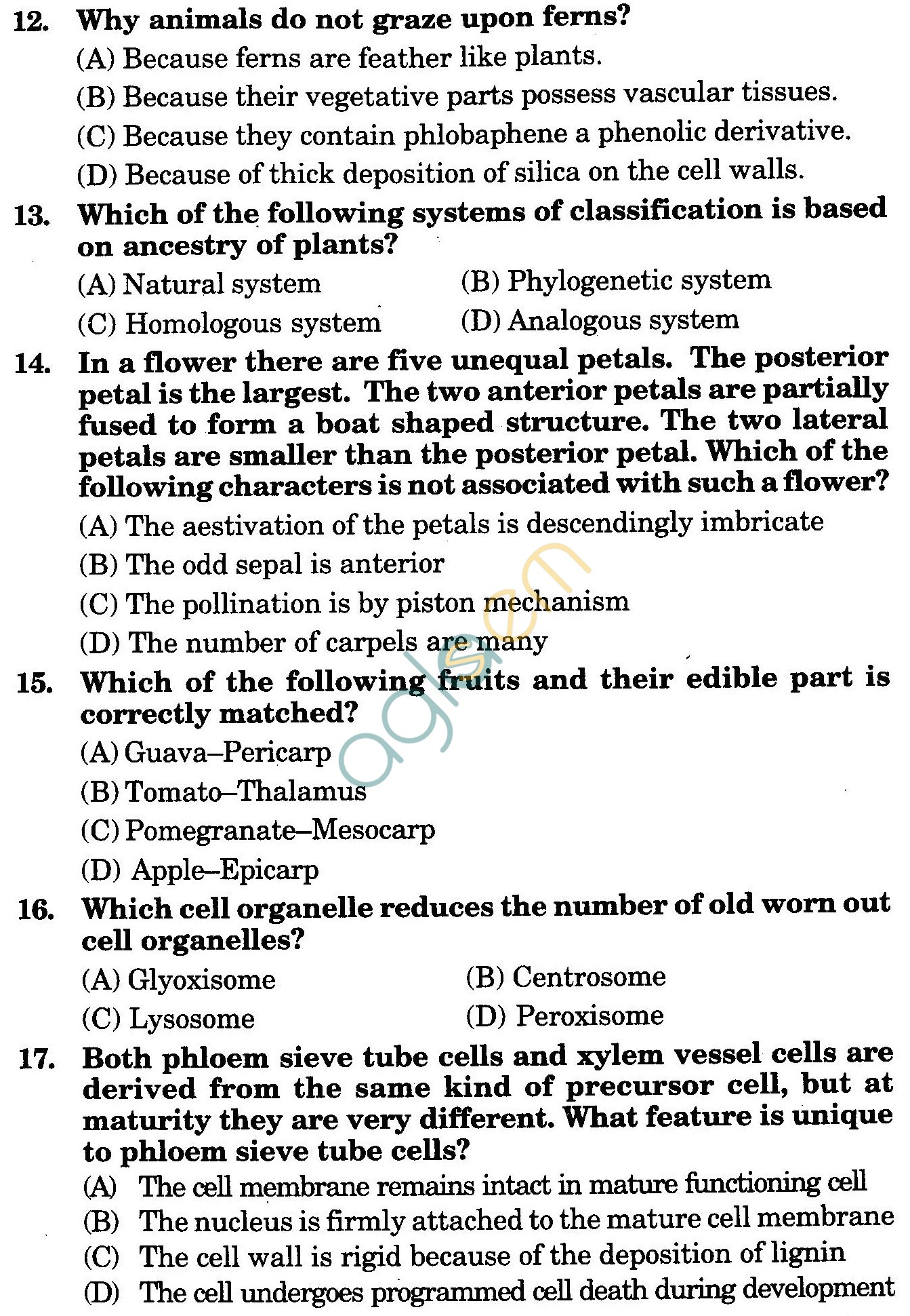 NSTSE 2010 Class XI PCB Question Paper with Answers - Biology