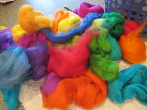 Luscious rainbow wool for felting