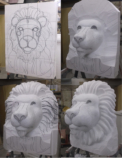 Lion head eps foam sculpture process flickr photo sharing