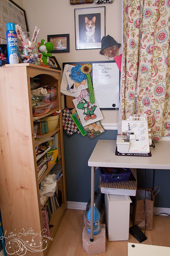 Bookshelf, serger and whiteboard