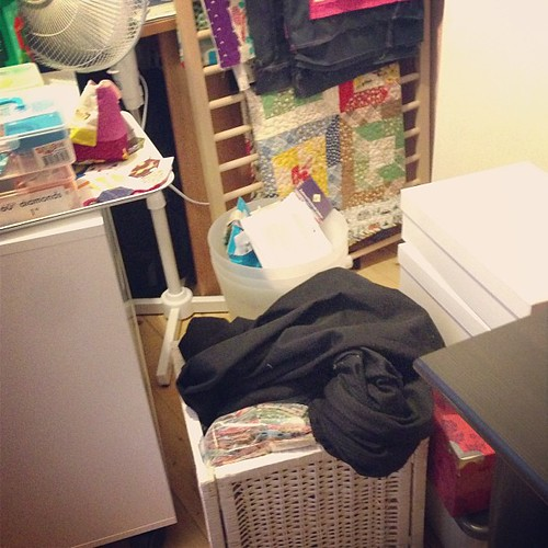 "The ""crap everywhere"" picture of my sewing room. :("