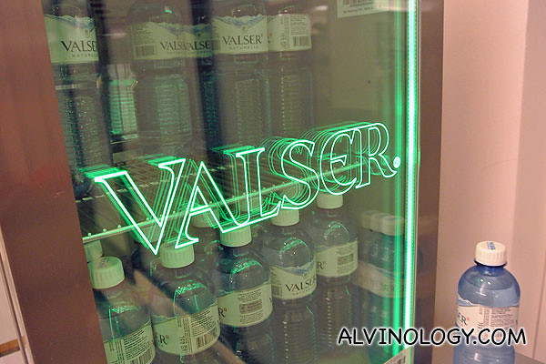 Fridge in the gym with chilled mineral water for guests