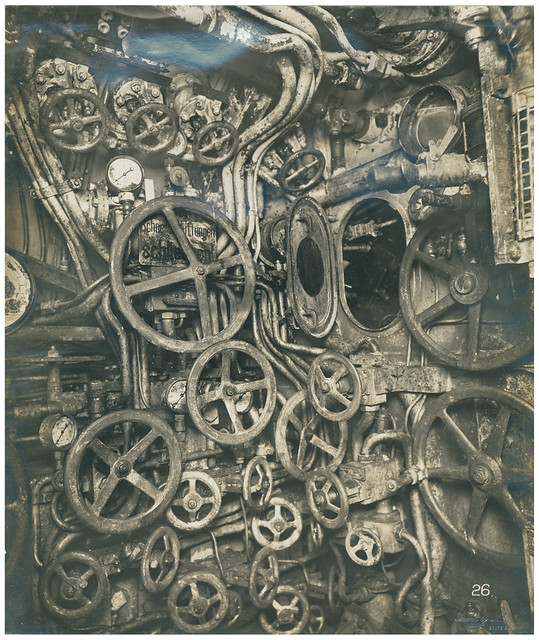 German Submarine, UB-110. Photo of Control room looking aft, starboard side