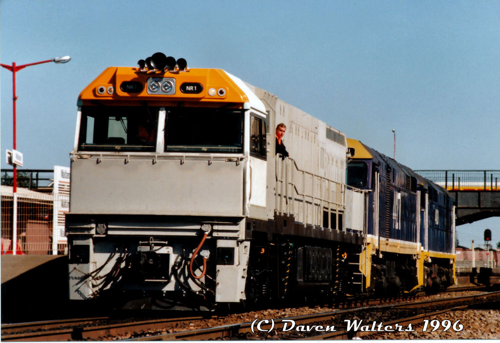 NR1 44211 44209 D302 Light Engine Trial Maitland Station 23 09 1996 by Daven Walters