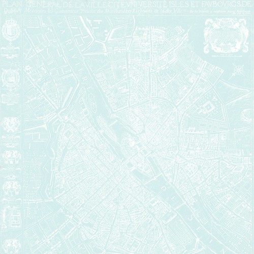 2b map 1654 Plan de Boisseau (very light turquoise) - free printable digital patterned paper