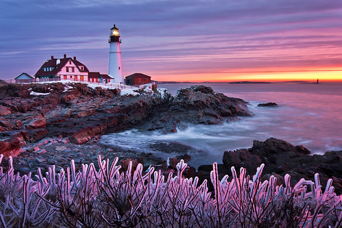 ocean morning winter lighthouse snow cold ice colors sunrise landscape dawn maine newengland portlandheadlight capeelizabeth