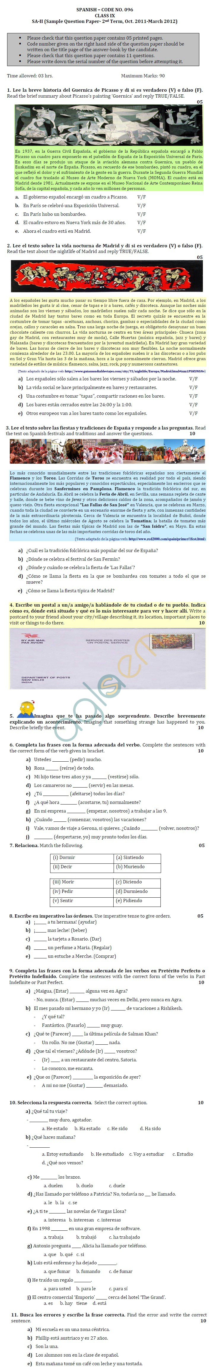 CBSE Class IX Sample Papers (Second Term) Spanish
