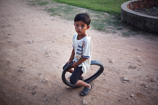 Boy on tire