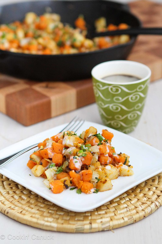 Sweet Potato & Endive Hash Recipe with Sriracha Buttermilk Sauce