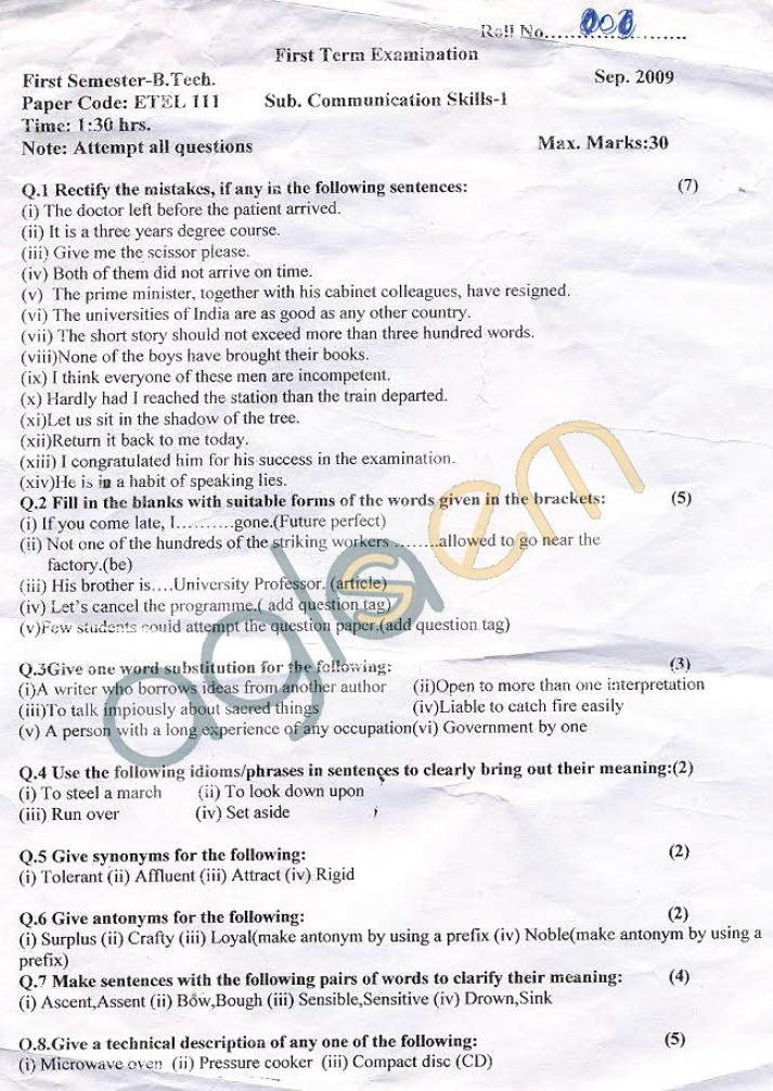 GGSIPU: Question Papers First Semester - First Term 2008 - ETEL-111