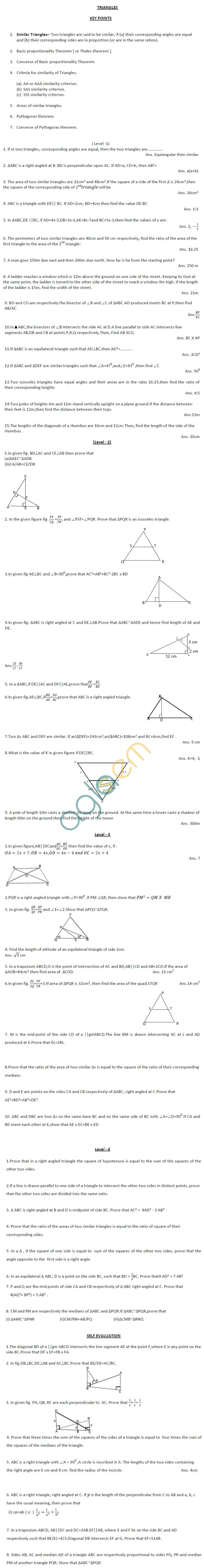 CBSE Class X: Maths - Triangles