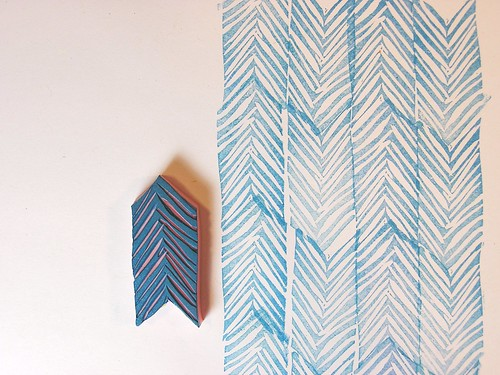 chevron hand carved stamp