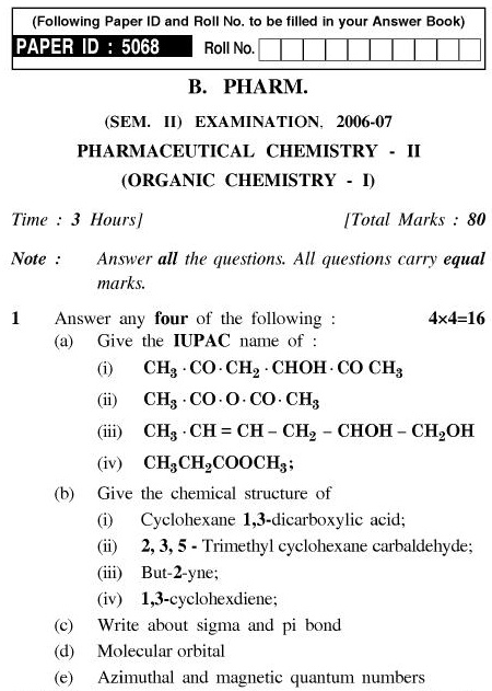 UPTU B.Pharm Question Papers PHAR-122 - Pharmeceutical Chemistry-II