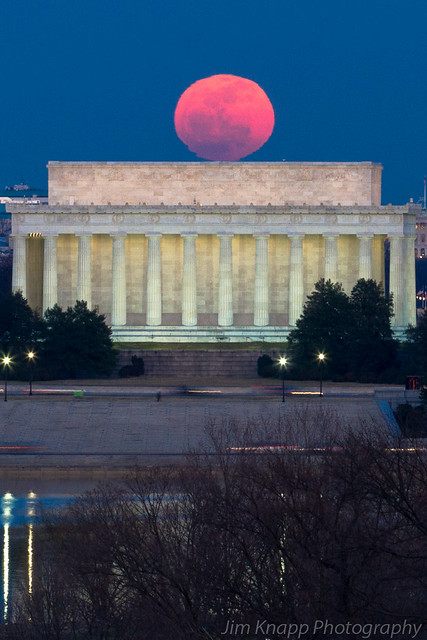 The Full Moon Rests On Top of the Lincoln Memorial