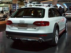 executive car(0.0), audi rs 6(0.0), audi q7(0.0), sports car(0.0), automobile(1.0), automotive exterior(1.0), audi(1.0), sport utility vehicle(1.0), wheel(1.0), vehicle(1.0), automotive design(1.0), auto show(1.0), audi allroad(1.0), bumper(1.0), sedan(1.0), land vehicle(1.0), luxury vehicle(1.0), vehicle registration plate(1.0),