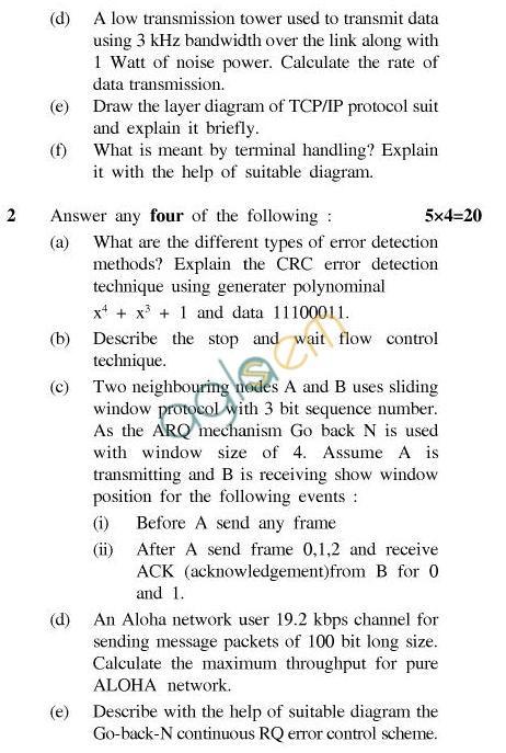 UPTU B.Tech Question Papers - CS-602-Computer Networks