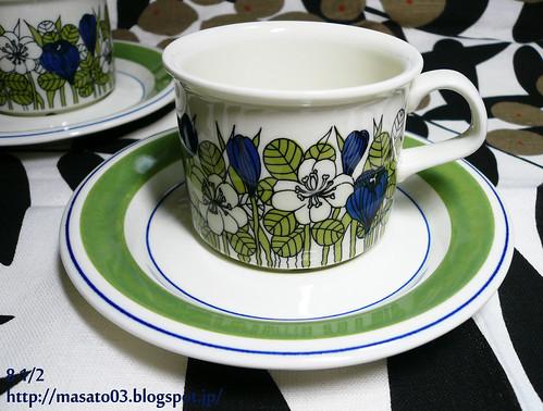 ARABIA FINLAND KROKUS Tea Cups with Saucers 4