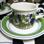 ARABIA FINLAND KROKUS Tea Cups with Saucers 4
