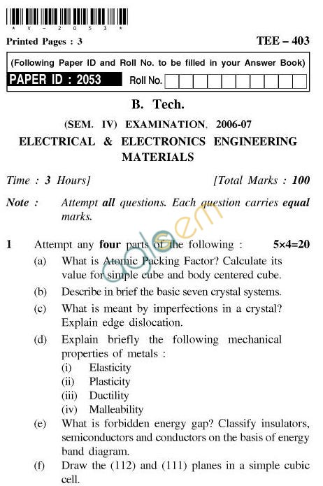 UPTU B.Tech Question Papers - TEE-403-Electrical & Electronics Engineering Materials
