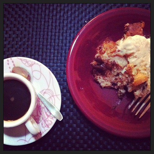 Espresso + Frangelico and chocolate bread pudding for dessert.