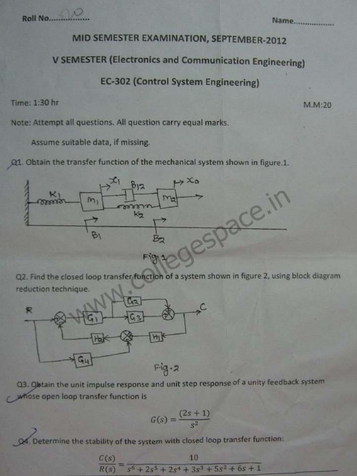 NSIT Question Papers 2012 – 5 Semester - Mid Sem - EC-302