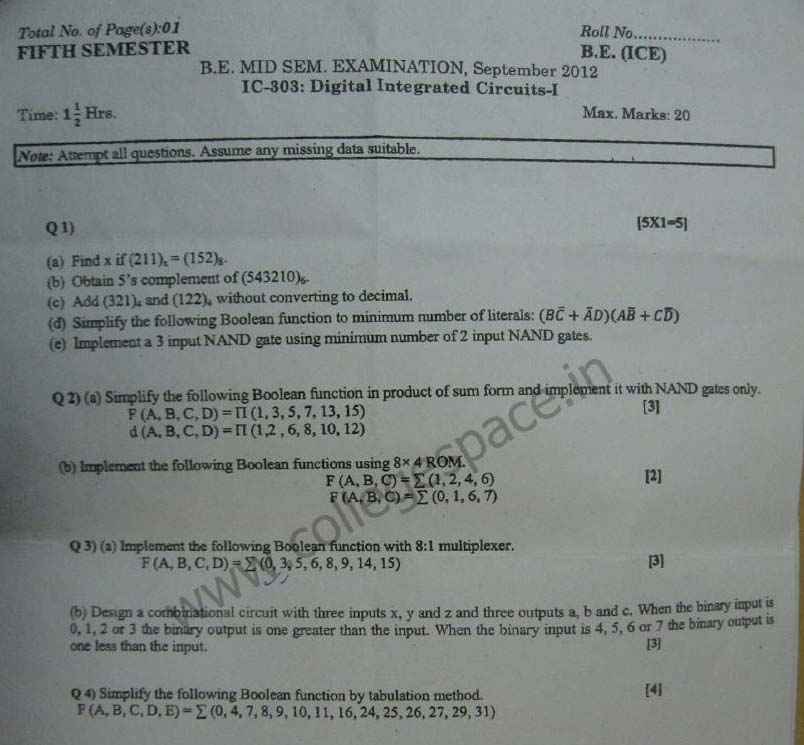 NSIT Question Papers 2012 – 5 Semester - Mid Sem - IC-303