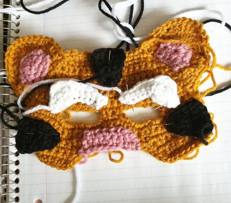 Tiger Mask crochet pattern work in progress by Knot By Gran'ma