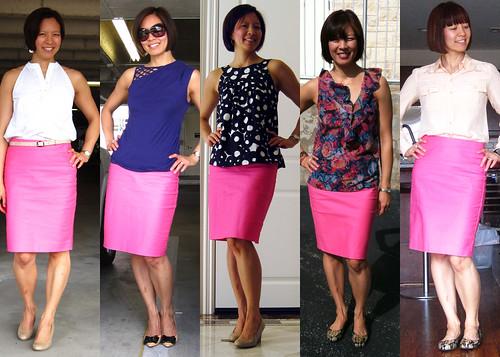 neon pink pencil skirt 01