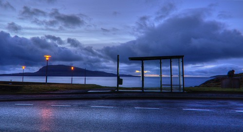 road blue sky bus vertical horizontal clouds sunrise reflections landscape route stop bluehour scandinavia nuages paysage reflets hdr faroeislands torshavn scandinavie ilesféroé atlanticsee sonyslta65