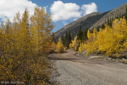 road blue autumn trees mountain fall yellow clouds golden nikon colorado dirt winding dirtroad aspen d60 bluelakes tenmilerange
