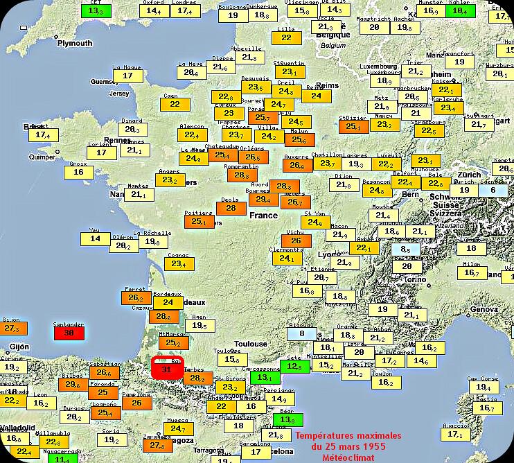 températures maximales et records de chaleur du 25 mars 1955 météopassion