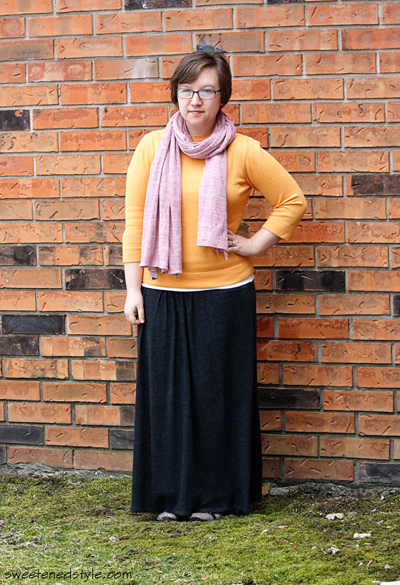 yellow + pink, grey maxi skirt