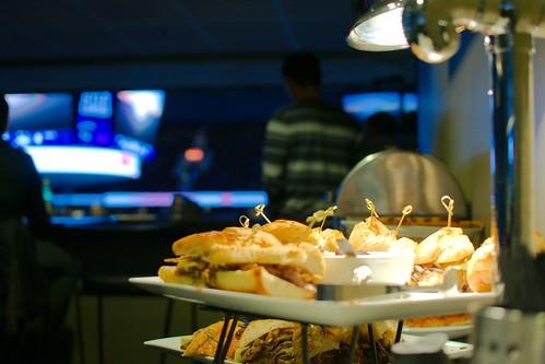 Sandwichs avec lampe réchaud