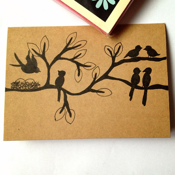 Day 29: Couple(s) #doodle #doodleaday #doodleadaymarch #couple #birds #tree #branches #nest #egg #leaves