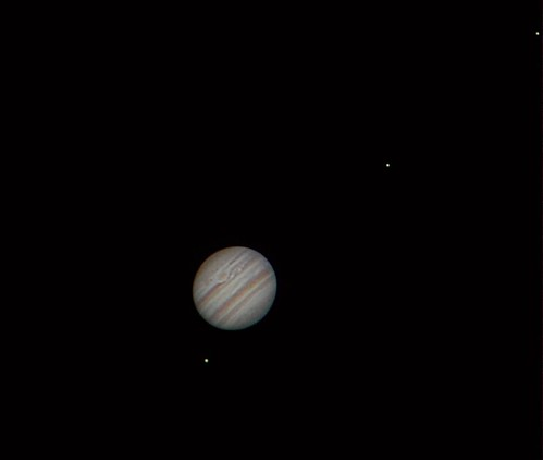 Jupiter & moons (left to right) Ganymede, IO, Europa