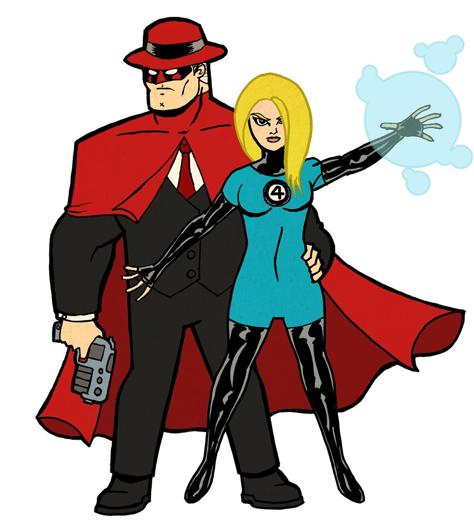 CRIMSON AVENGER & SUE RICHARDS